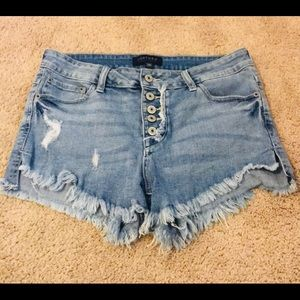 Just USA Unbalanced Button-Fly Jean Shorts 28